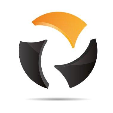 3D abstract ball circular World globe orange sun summer symbol corporate design icon logo trademark