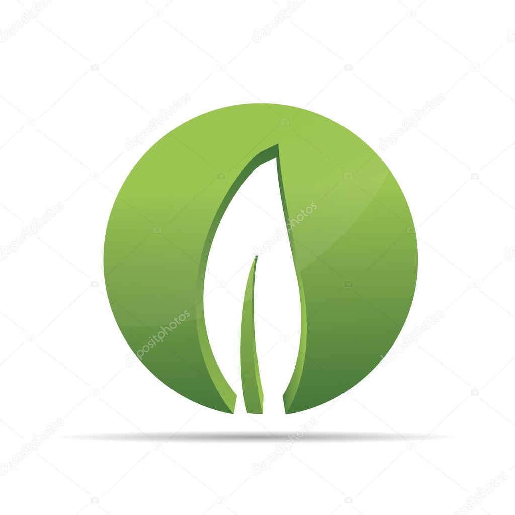 3D nature tree green leaf zen circle wellness corporate design icon logo trademark