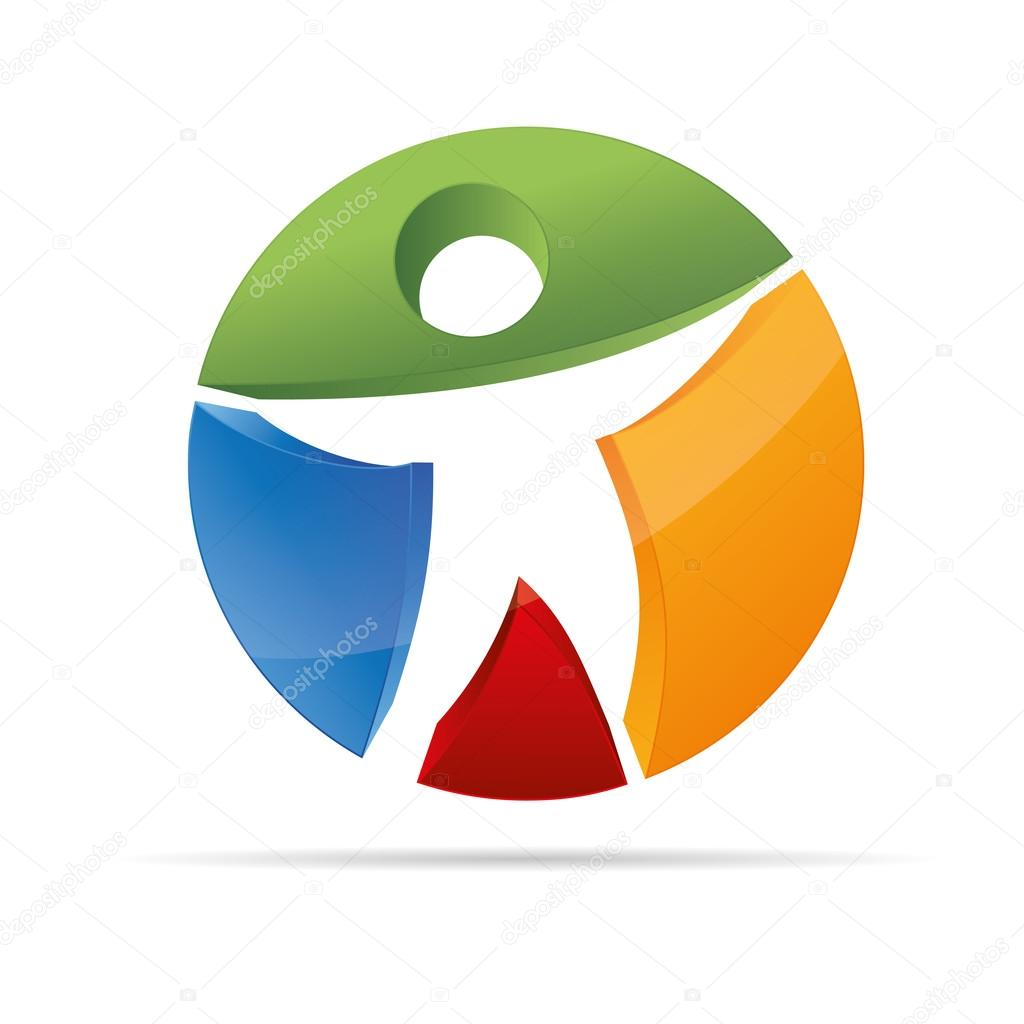 3D abstract figure in a Circle colorful stickman symbol corporate design icon logo trademark