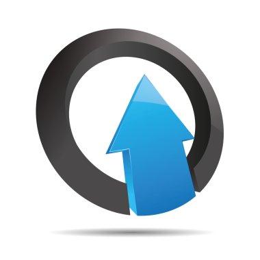 3D abstract arrow blue water ocean direction ring angular upswing symbol corporate design icon logo trademark