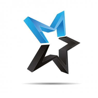 3D abstract blue water ocean star starfish christmas template design icon logo trademark
