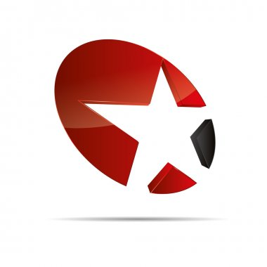 3D abstract red star starfish christmas template design icon logo trademark