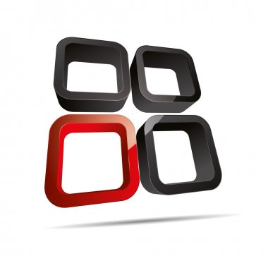 3D abstract corporate red round cube window design icon logo trademark