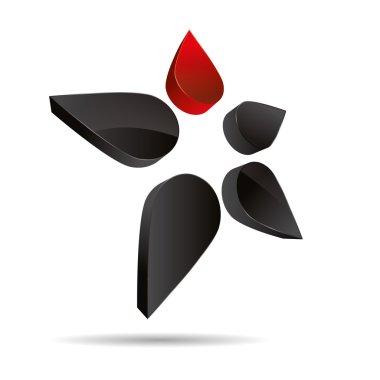 3D abstract figure stickman flower drip star symbol corporate design icon logo trademark