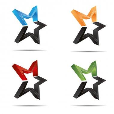 3D abstract set shooting star starlets starfish symbol corporate design icon logo trademark