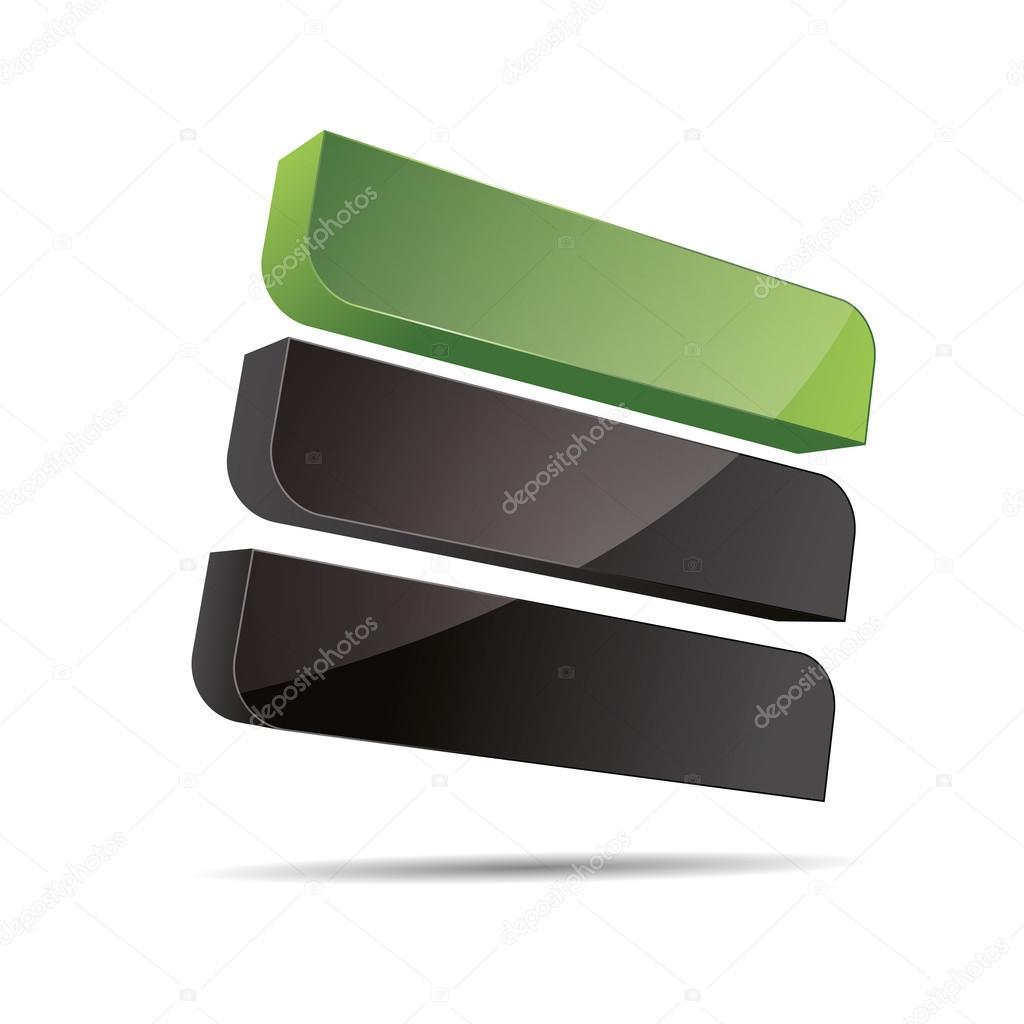 3D abstract corporate green nature bio eco stiff rectangle cube line sail design icon logo trademark