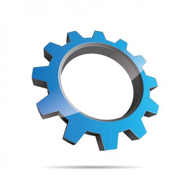 3D abstraction pinion wheel motor engineering blue water metal corporate logo design icon sign