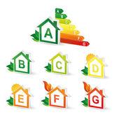 Set Energie Klasse Energieberatung Balkendiagramm Effizienz Bewertung Elektrogeräte verbrauchen Umwelt-logo