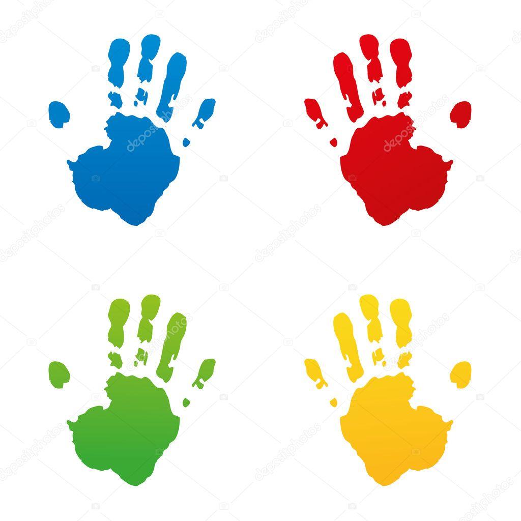 Set Handabdruck Fussabdruck Fingerabdruck Vektor Hand Kidshand