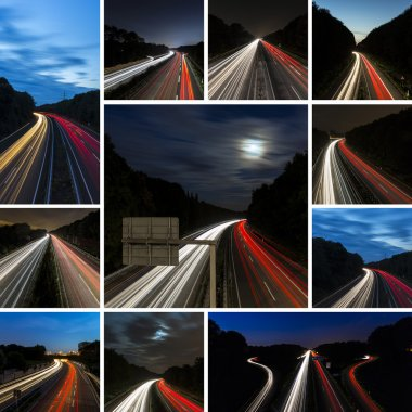 Long time exposure set collection freeway cruising car light trails streaks of light speed highway