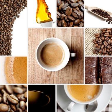 Coffee bean coffee collage collection set coffee cup espresso jute bag italian roast coffee steam