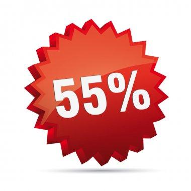 55 percent 3D Discount advertising action button badge bestseller percent free shop sale