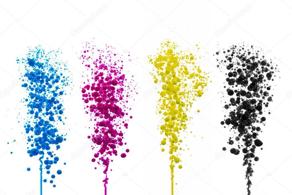 Ölfarbe Cyan Magenta Kugeln Blasen Drucken Cmyk Farbe Modell ...