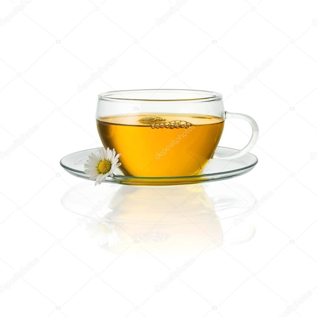 Chamomile tea glass daisy drink mugs isolated hot drink cold-hot cutout