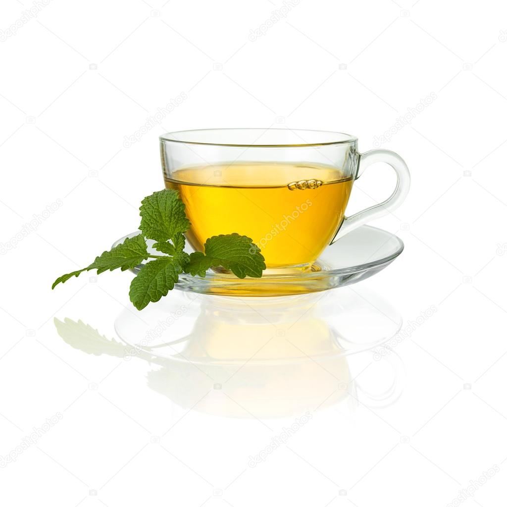 Mint tea glass drink peppermint teacup isolated hot drink hot cutout aroma steam