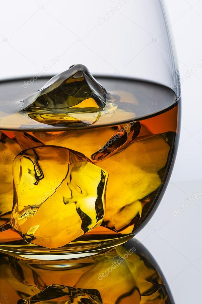 Whiskey glass reflection ice drink bourbon rocks alcoholic alcohol scotland spirit tennessee