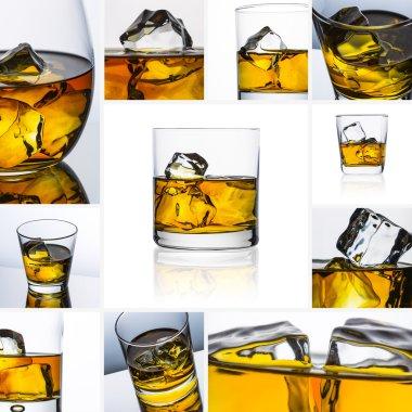 Whiskey glass set collage reflection ice drink bourbon rocks alcoholic alcohol scotland