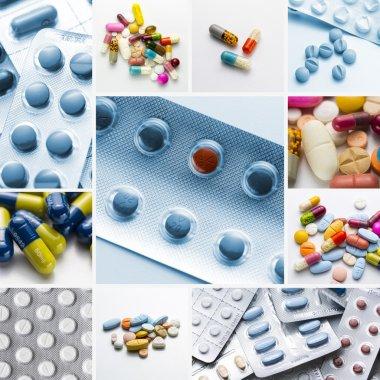 Tablets set collage pharmacy pill pack lozenge doctor prescription doctor drug health flu