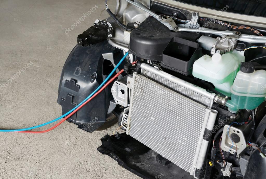reparaci n de aire acondicionado del coche foto de stock