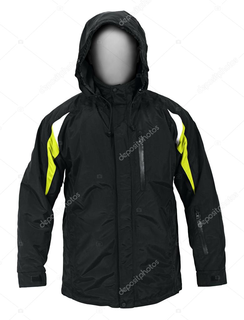 Black male sport jacket with hood isolated on white background