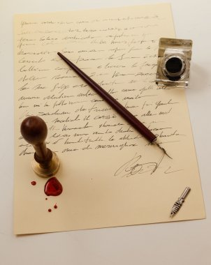 stamp pen and ink old writing instruments