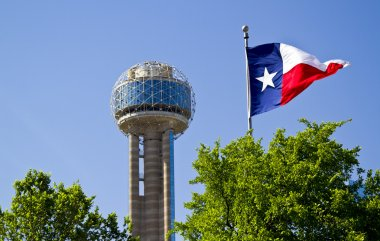 Reunion Tower in Dallas Texas on a Sunrise Spring morning with a
