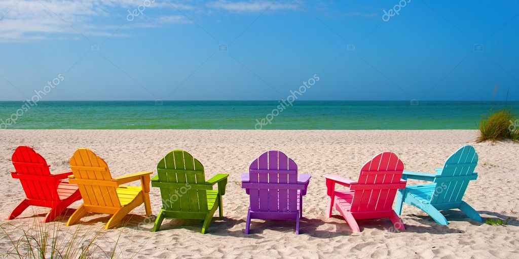 Adirondack Beach Chairs for a Summer Vacation in the Shell Sand