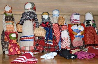 Russian folk traditional rag dolls of the Russian North, Morschininskaya village, Arkhangelsk region
