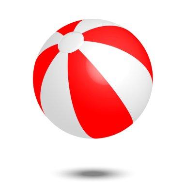 Vector illustration of red & white beach ball