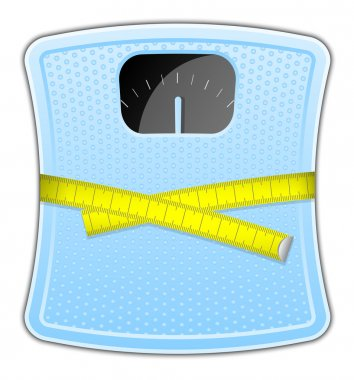 Vector illustration of blue bathroom scale with measuring tape clip art vector