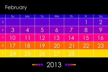 Vector calendar 2013 - February