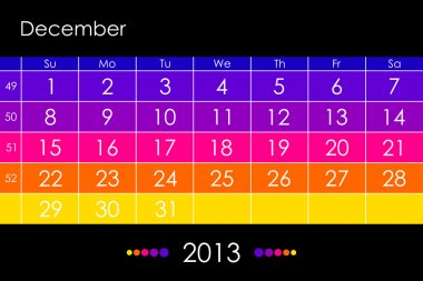 Vector calendar 2013 - December