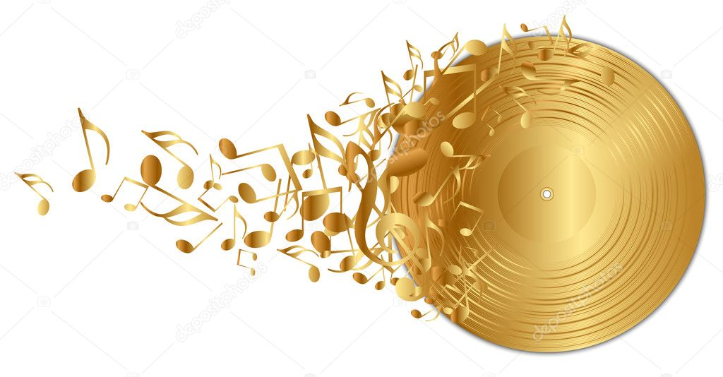Vector illustration of golden vinyl record with notes