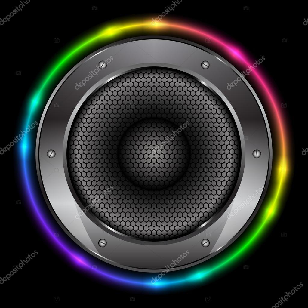 Vector Colorful Background With Sound Speaker Stock