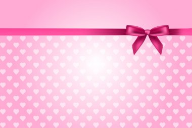 Vector pink background with hearts pattern and bow clip art vector