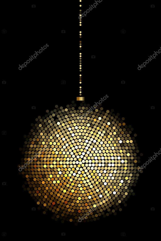 Vector Ilration Of Gold Disco Ball Lights Stock