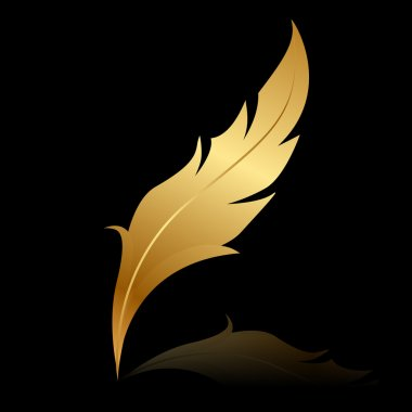 Vector illustration of golden feather on black
