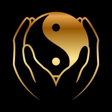 Vector illustration of hands holding yin yang symbol