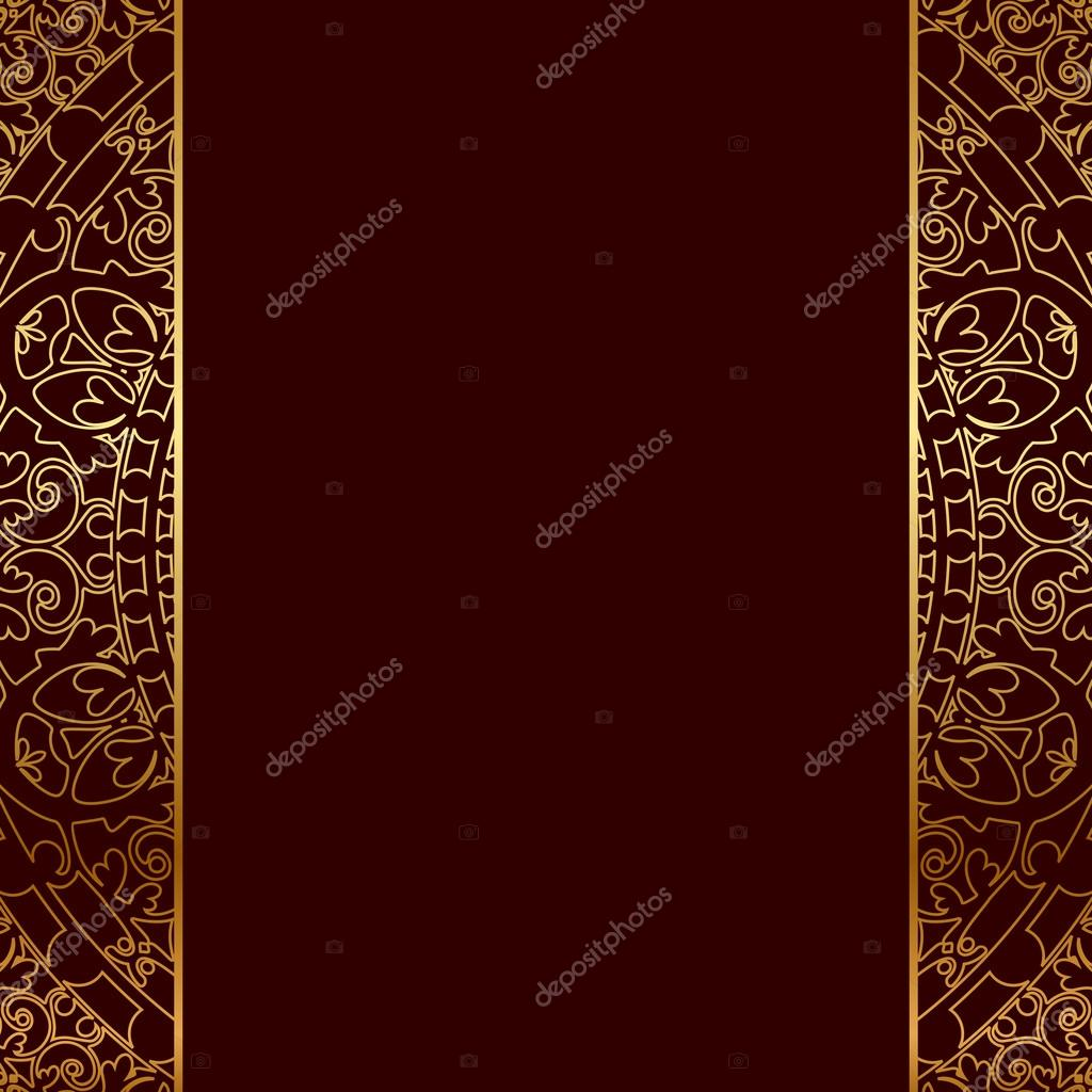 Vector red gold frame with oriental ornament stock for Ornament tapete