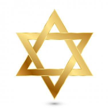 Vector illustration of golden Magen David (star of David)