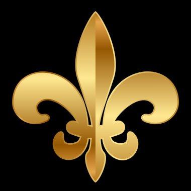 Vector gold Fleur-de-lis ornament on black clip art vector