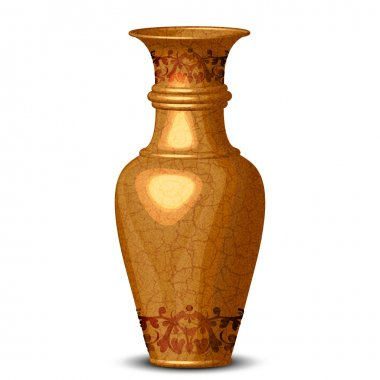 Vector illustration of golden ornate vase