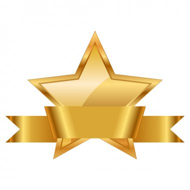Gold star award with shiny ribbon