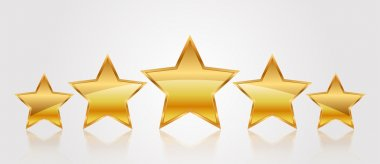 Vector illustration of 5 gold stars