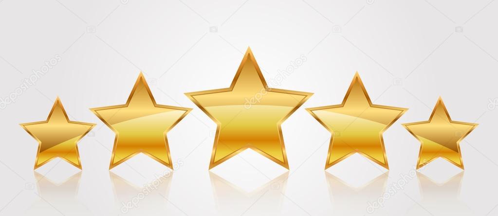 Vector illustration of 5 gold stars