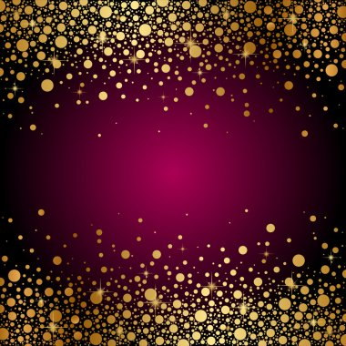 Vector maroon background with gold sparkles
