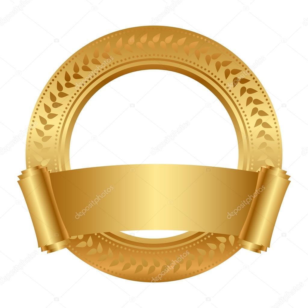 marco floral Vector con desplazamiento de oro — Vector de stock ...