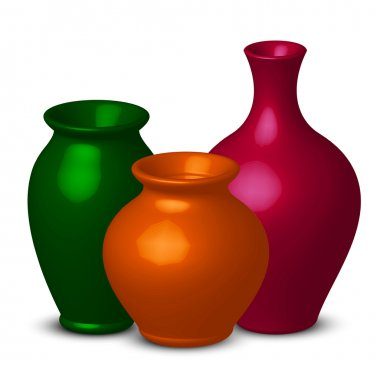 Vector illustration of colorful vases clip art vector