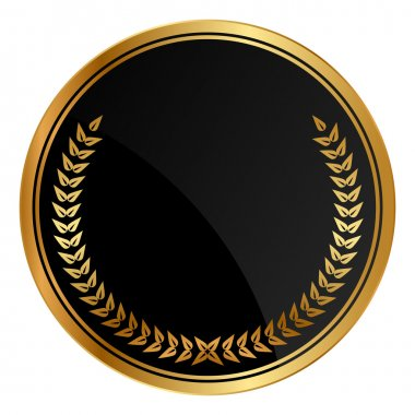 Vector black medal with gold laurels