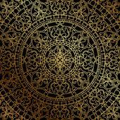 vektorové černé pozadí s zlaté orientálními ornamenty